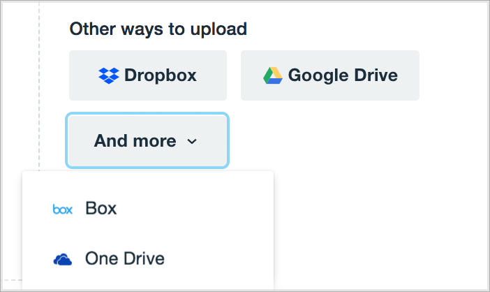 Uploading via Dropbox, Google Drive, OneDrive, and Box